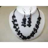 Necklace and Earings Set Black Obsidion