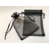 Organza Pouch 50 Pack  - Black - Med