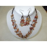 Necklace and Earings Set Carnelian