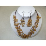Necklace and Earings Set Peach Aventurine
