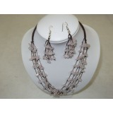 Necklace and Earings Set Rose Quartz