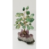 Aventurine on Amethyst base - Gemstone Tree - 120mmHx75mmW