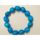 Howlite - Oval Tumble Stone Bracelet - Blue dyed - 14mm