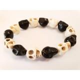 Howlite Skull Bracelet - Natural and Black Dyed - 10mm