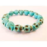 Howlite Skull Bracelet - Blue dyed - 10mm