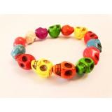 Howlite Skull Bracelet - Multi colour dyed - 10mm