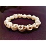Howlite Skull Bracelet - Natural - 10mm