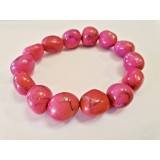 Howlite - Oval Tumble Bracelet - Pink dyed - 10mm
