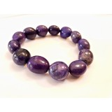 Howlite - Oval Tumble Stone Bracelet - Purple dyed - 10mm