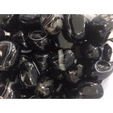 Agate - Black white banded - Tumbled  20x30mm    200 GRAMS